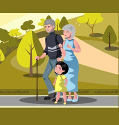 grandparents with grandchildren walking vector image