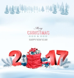 Happy new year 2017 Holiday Christmas background vector image vector image