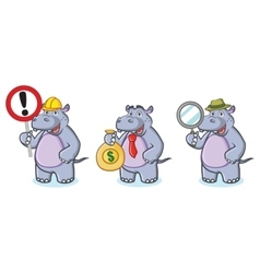 Hippo Mascot with money vector image vector image