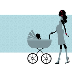 Pregnant mom with child in pram vector image vector image