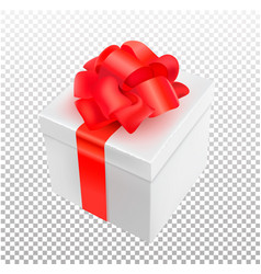 realistic 3d present box with bow tie vector image vector image
