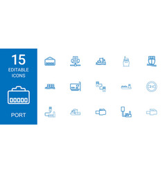 15 port icons vector