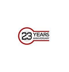 23 years anniversary with circle outline red vector
