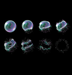 3d soap transparent bubble stages of the vector