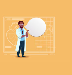 African american doctor with chat bubble medical vector