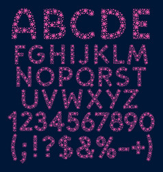 alphabet letters numbers and signs pink stars vector image