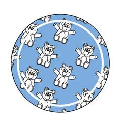 Bear cartoon button vector