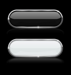 Black and white oval buttons in chrome frame on vector