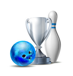 bowling game award blue bowling ball and silver vector image