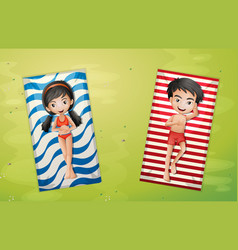 Boy and girl relaxing on towel aerial view vector