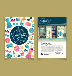 brochures with girls boutique cartoon vector image