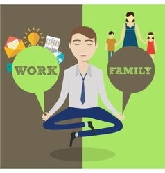 Businessman meditating Man balancing family and vector