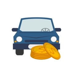 Car and money coin icon vector