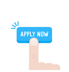 Cartoon hand press on apply now button vector