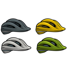 Cartoon plastic bicycle helmet icon set vector