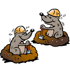 Cartoon two mole digging holes in ground vector