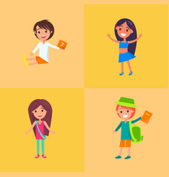 Children having fun collection of four vector