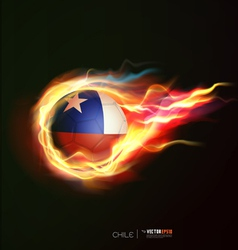 Chile flag with flying soccer ball on fire vector