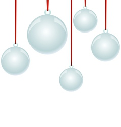 Christmas NewYear balls with ribbon hanging vector