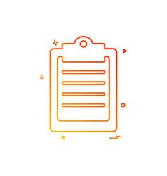 clipboard paper board clip paper page icon design vector image