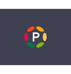 Color letter p logo icon design Hub frame vector image