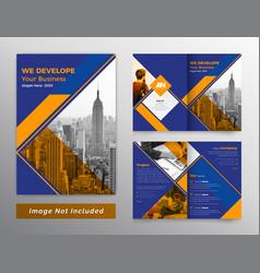 Colorful bifold business brochure design vector