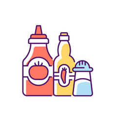 Condiments and sauces rgb color icon vector