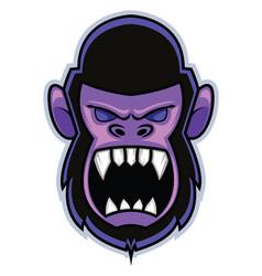 Crazy gorilla gaming logo on white background vector