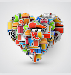 Creative heart sign made of shopping items vector