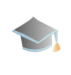 cute cartoon graduation cap icon vector image