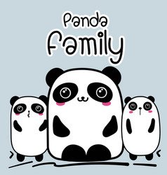 Cute cartoon panda family background vector