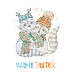 cute christmas animal forest raccoon couple in vector image