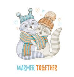 Cute christmas animal forest raccoon couple vector