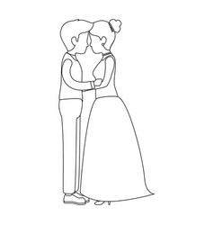 cute couple just married kissing vector image