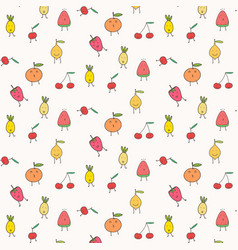 cute fruits pattern background vector image