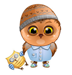 Cute owl holding the wing of the stuffed toy vector