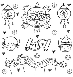 Doodle of Chinese New Year with hand draw vector