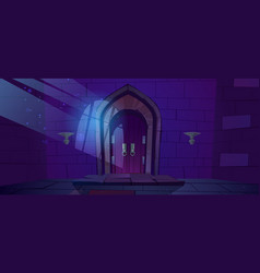 dungeon medieval castle night interior vector image