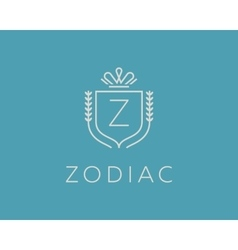 Elegant monogram letter Z logotype Premium crest vector image vector image
