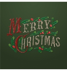 Embroidered Merry Christmas card vector image