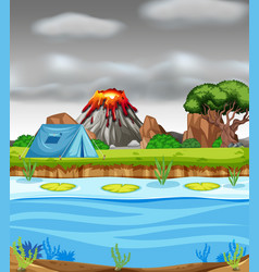 Erupting volcano and camping scene vector