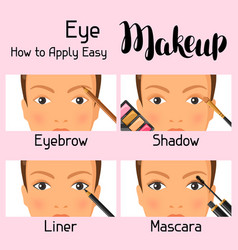 Eye makeup how to apply easy information banner vector