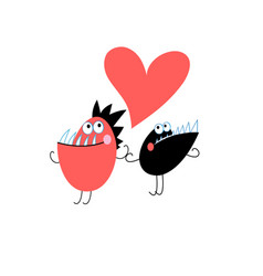 festive merry greeting card with monsters in love vector image