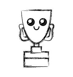 figure kawaii cute happy prize cup vector image