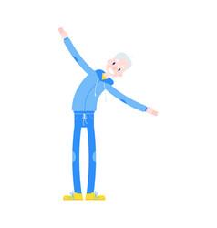 flat elderly man in sportsuit side bend vector image