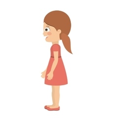 girl standing looking aside isolated icon design vector image