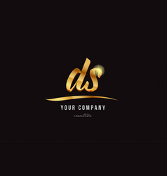 Gold alphabet letter ds d s logo combination icon vector