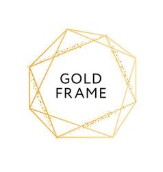 gold frame geometric shape minimalism design vector image