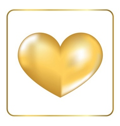 Gold heart 3D 2 vector image