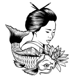 Hand drawn koi fish with flower tattoo for arm vector